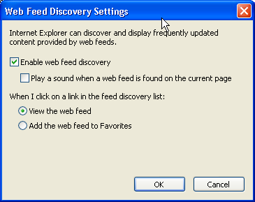 IE7 RSS Webfeed Discovery Configuration