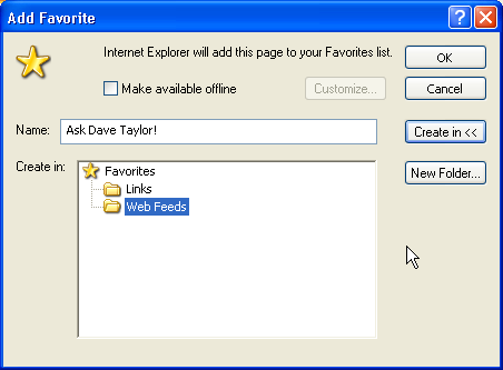 IE7 Save As Webfeed Dialog Box