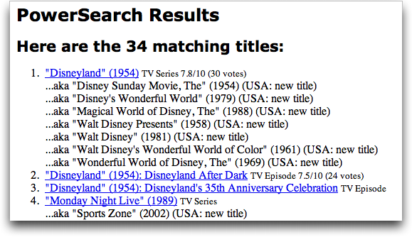 IMDB Word Search: Filming Location = Disneyland