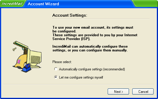 Incredimail Account Wizard 1