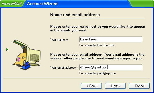 Incredimail Account Wizard 2