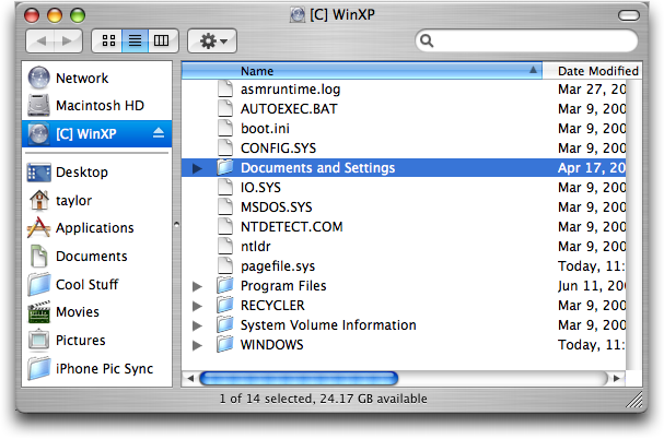 Finding a file from Parallels/WinXP in Mac OS X