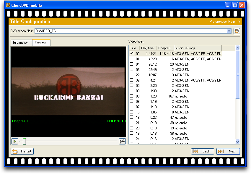 Clone DVD in Windows XP / Parallels on a Mac converting a commercial DVD movie for the iPhone, pic 2