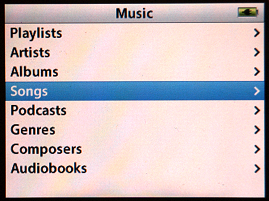 Apple iPod music choices screen
