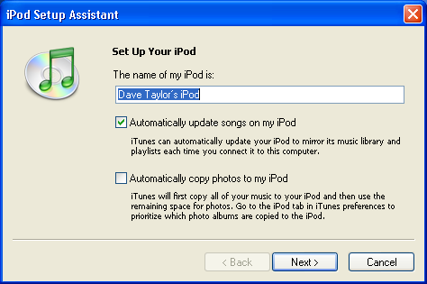 iPod Setup Assistant: Windows XP