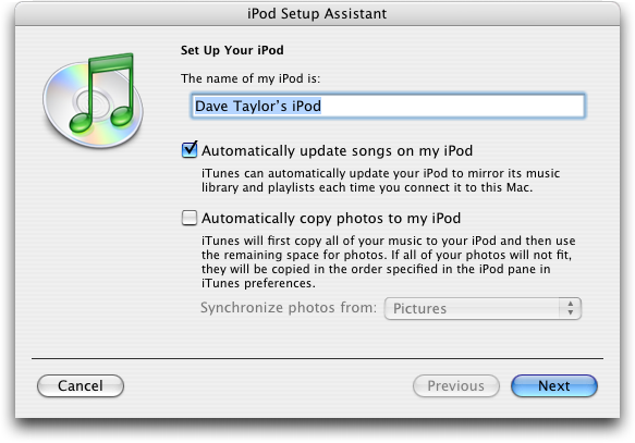 Setup Apple iPod post-restore / reformat operation