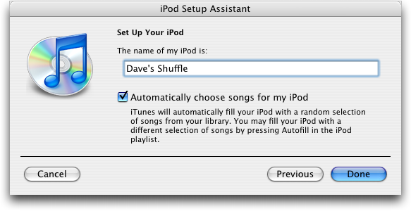 Apple iPod Shuffle second generation, Setup Program