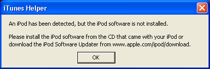 iPod Software Not Installed: Windows XP