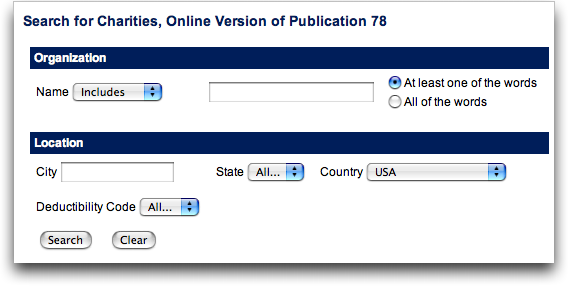 Internal Revenue Service (IRS) 501c3 non-profit tax status search tool