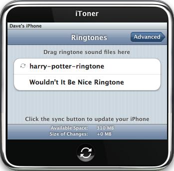 iToner iPhone Ringtone Manager: New Ringtone in Main Window