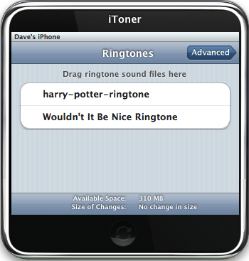 iToner iPhone Ringtone Manager: New Ringtone Sync'd with iPhone