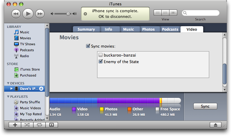 Copying/Syncing a DVD movie onto the iPhone