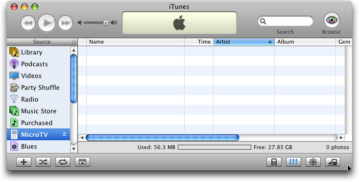 Apple iTunes: Empty iPod