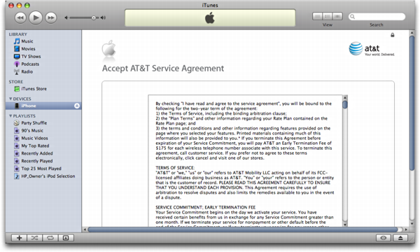 iTunes on Mac OS X: Apple iPhone: Terms of the AT&T/Cingular Customer Agreement