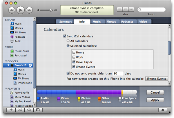 iTunes: Synchronizing iCal/Google Calendar data with Apple iPhone
