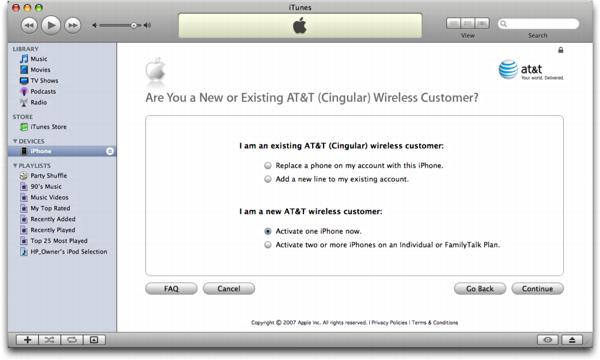 iTunes on Mac OS X: Apple iPhone: Existing AT&T/Cingular customer?