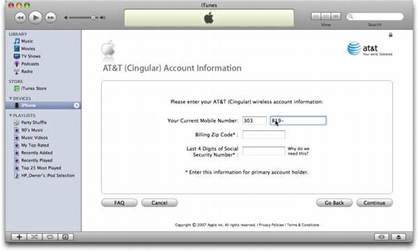 iTunes on Mac OS X: Apple iPhone: Moving an Existing ATT/Cingular Number