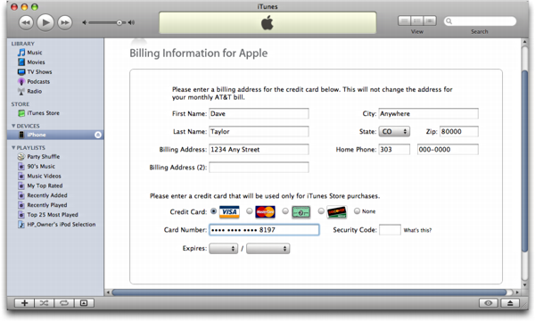 iTunes on Mac OS X: Apple iPhone: Billing Info setup configuration in iTunes Store Account