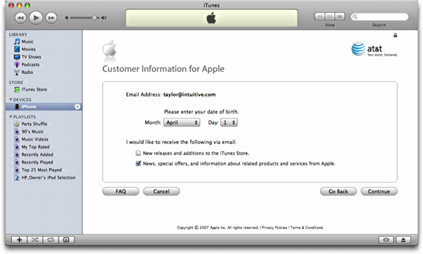 iTunes on Mac OS X: Apple iPhone: Reviewing Customer Info on iTunes Music Store