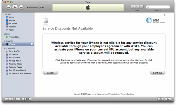 iTunes on Mac OS X: Apple iPhone: No Service Discount from AT&T/Cingular