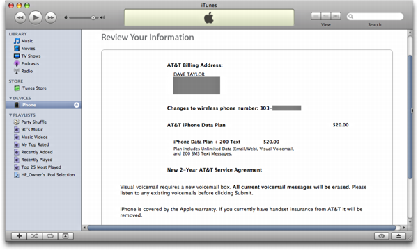 iTunes on Mac OS X: Apple iPhone: Review your Agreements, how exciting!
