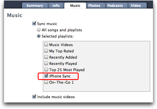 Apple iTunes in Mac OS X: Synchronizing New Playlist with iPhone