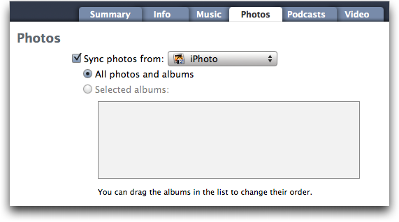 Mac OS X Finder: iTunes: Sync iPhoto photographs