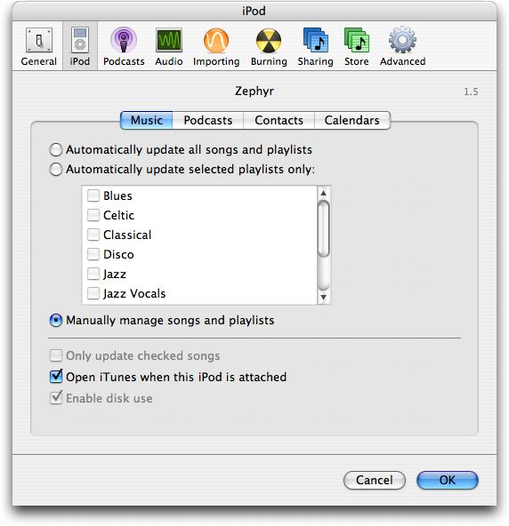 iPod configuration options in Apple's iTunes
