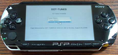 iTunes on PSP: PSP screen