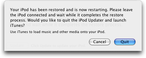 Apple iTunes: iPod Restored to Factory Settings