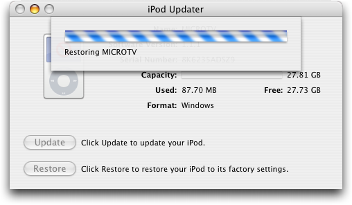 Apple iTunes: iPod Restoring to Factory Settings