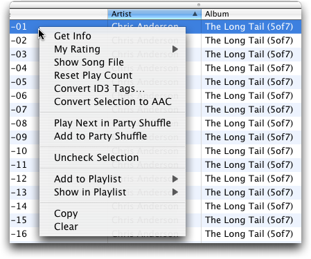 Apple iTunes: Right Click on an individual track