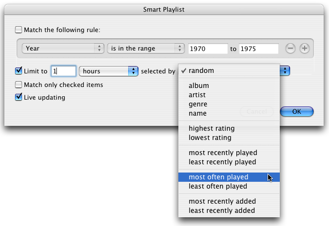 Apple iTunes Smart Playlist: One Hour of Songs Only