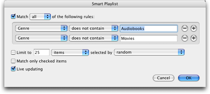 Apple iTunes Smart Playlist: All Music