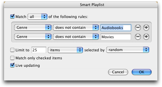 Apple iTunes Smart Playlist: Exclude Audiobooks