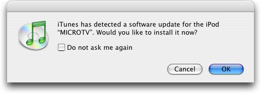 Apple iTunes: iPod Update