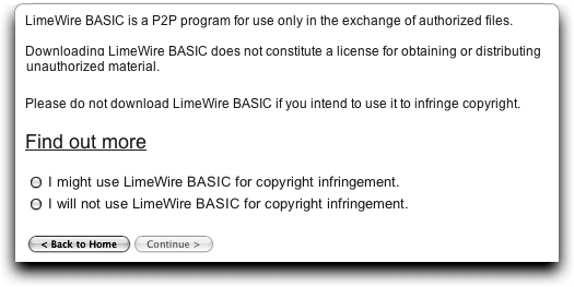 Limewire download: are you going to use it to infringe on copyrighted material?