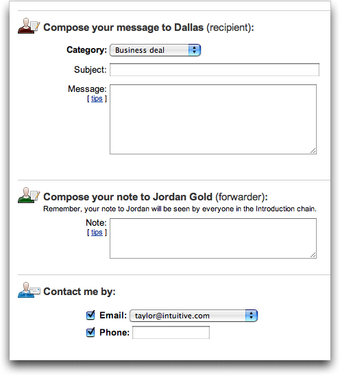 LinkedIn: Compose Message to Forward