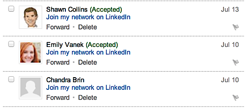 LinkedIn: Invitations Sent and their status