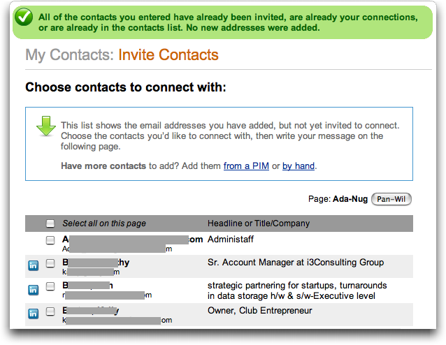 LinkedIn: Invite Contacts