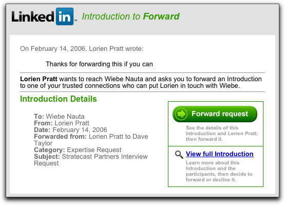 LinkedIn Request to Forward Introduction