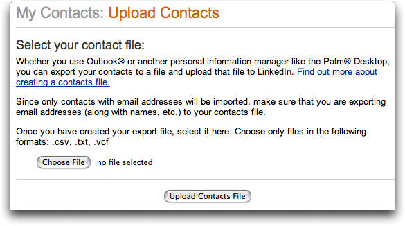 LinkedIn: Upload Contacts