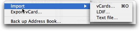 Mac OS X: Address Book: Import