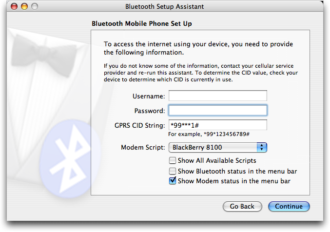 Mac OS X: Bluetooth Mobile Device Setup