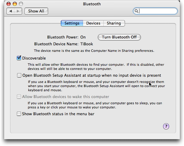 Mac OS X: Bluetooth Settings