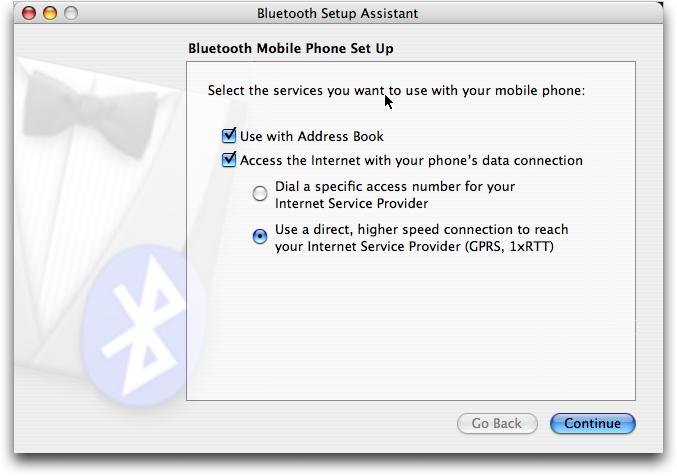 Mac OS X: asistente de configuración Bluetooth