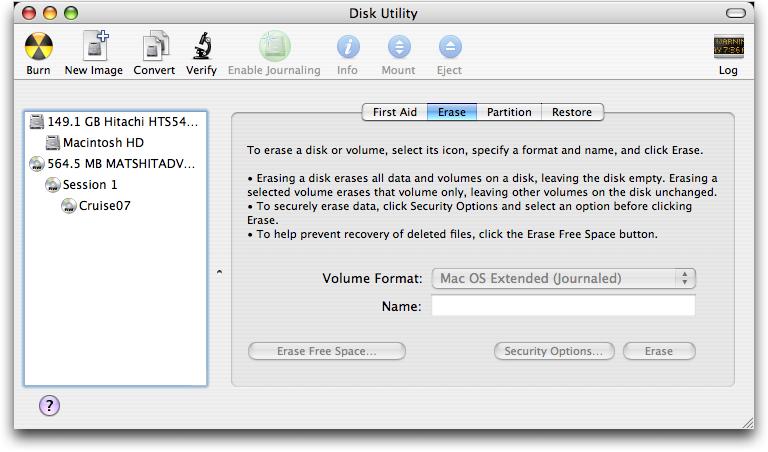 Erasing a CDRW on Apple Mac OS X