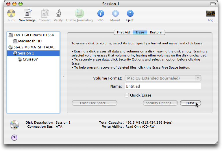 Erasing a CDRW on Apple Mac OS X 2