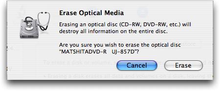 Erasing a CDRW on Apple Mac OS X 3