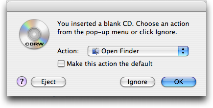 Mounting a Blank CDRW on Apple Mac OS X
